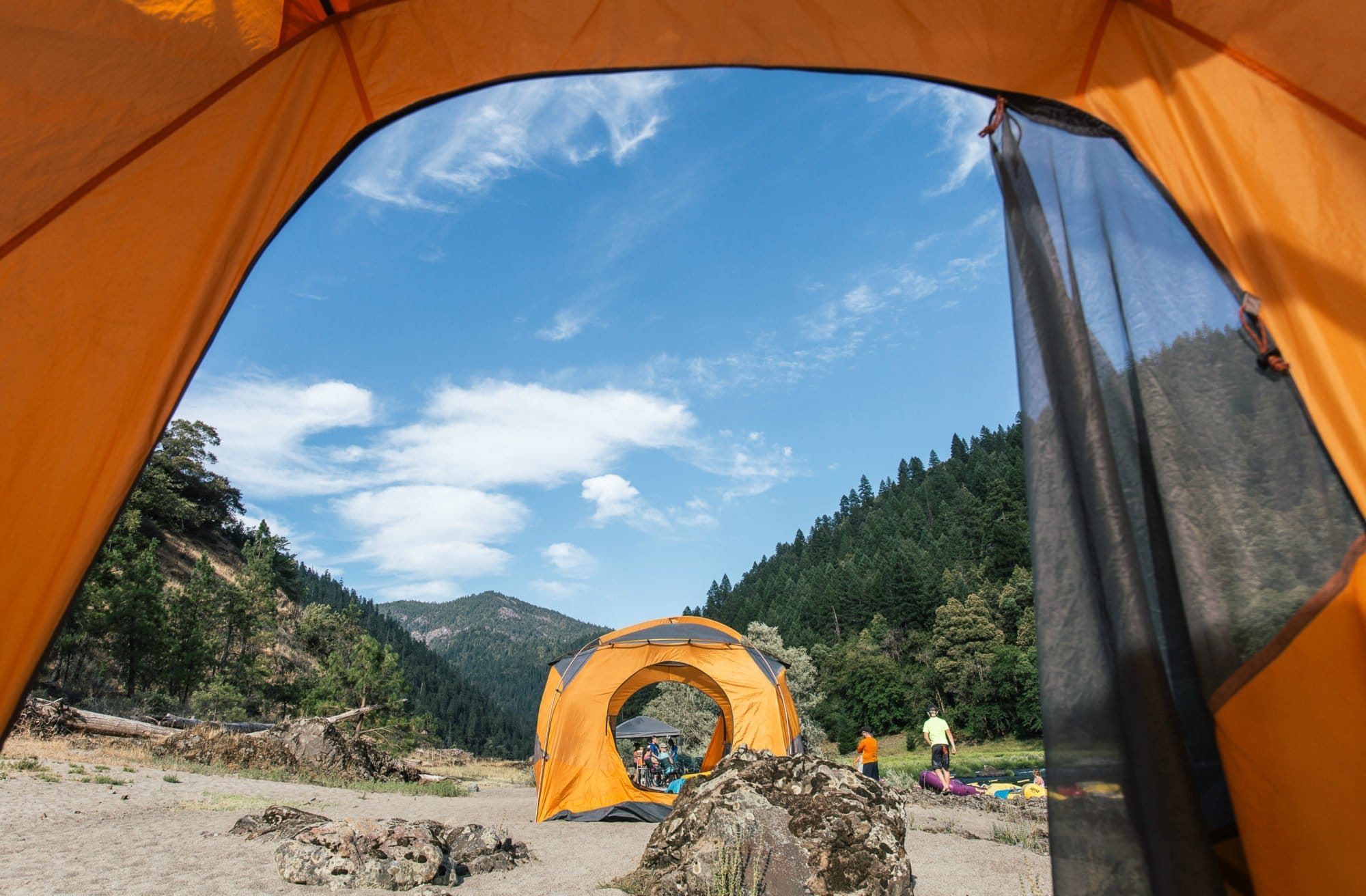 First person view from one tent to another during a camp