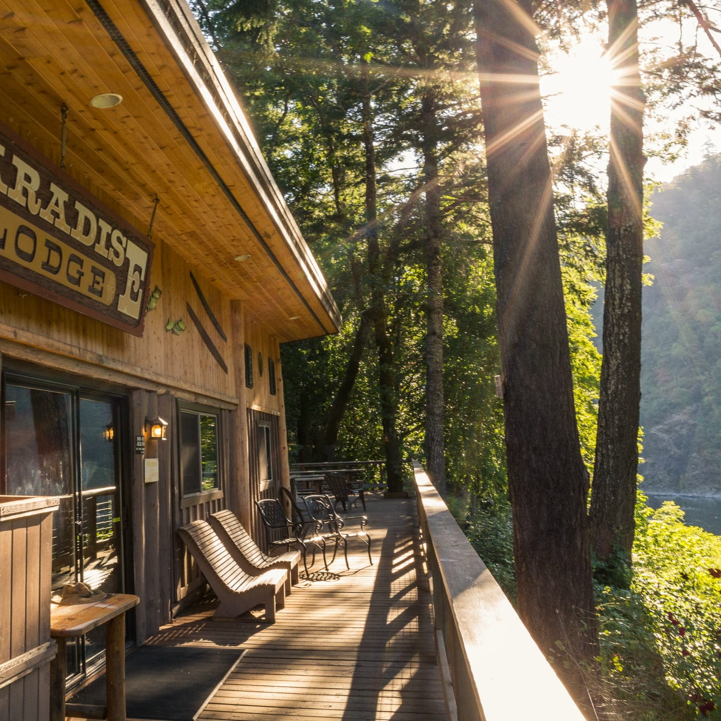 The beautiful deck of Paradise Lodge, one of our gorgeous locations along the Rogue River.