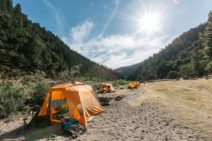 4 day camp rafting trip tent set up photo.