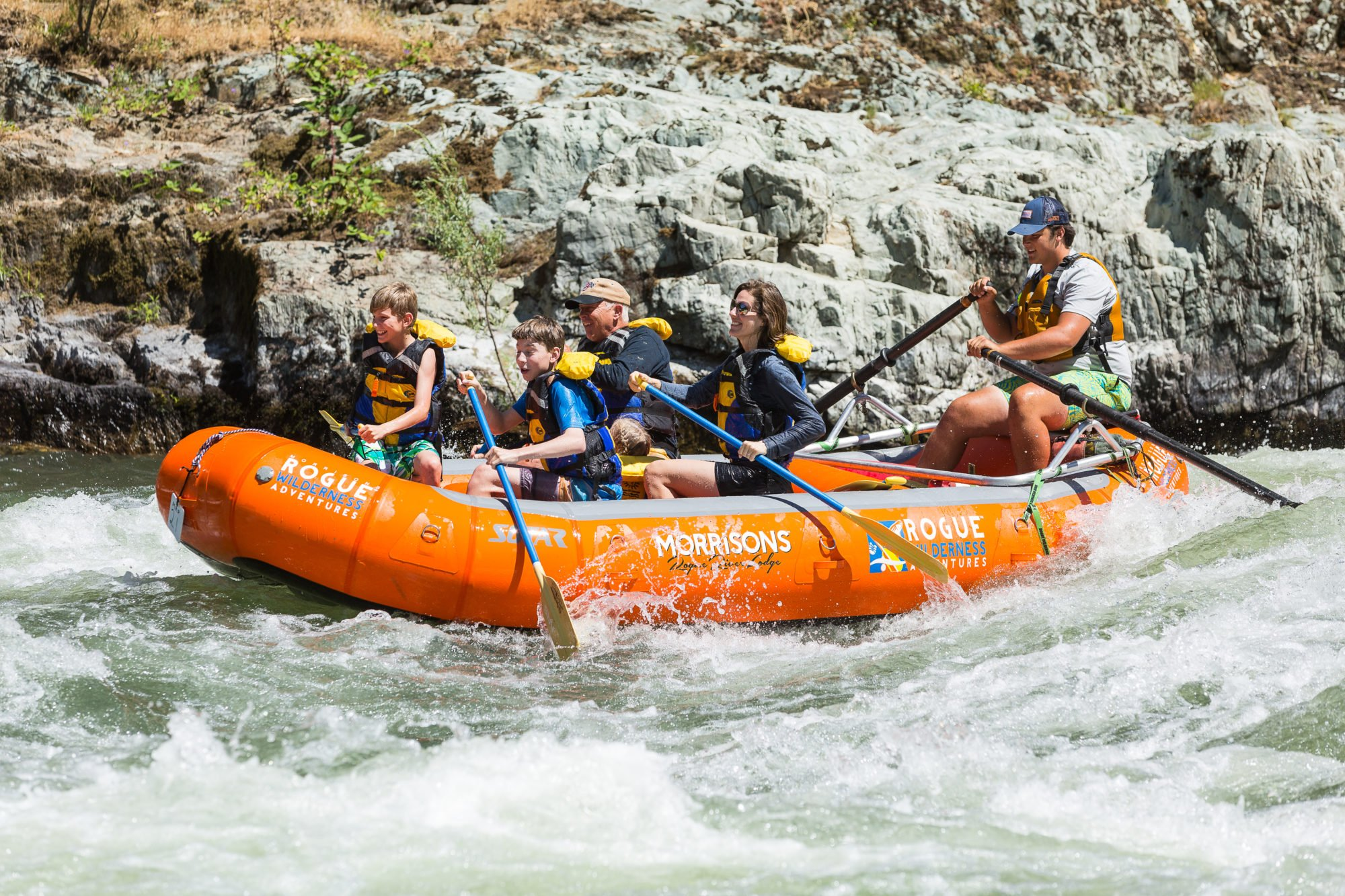 Family rafting on a Rogue River day trip.