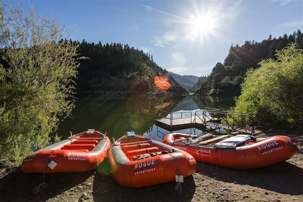 Rafts at a launch point on the Rogue River