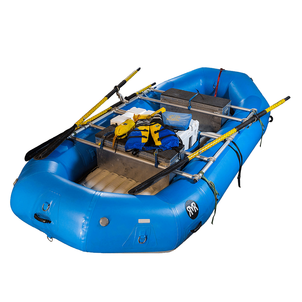 Picture of a blue deluxe raft packed.
