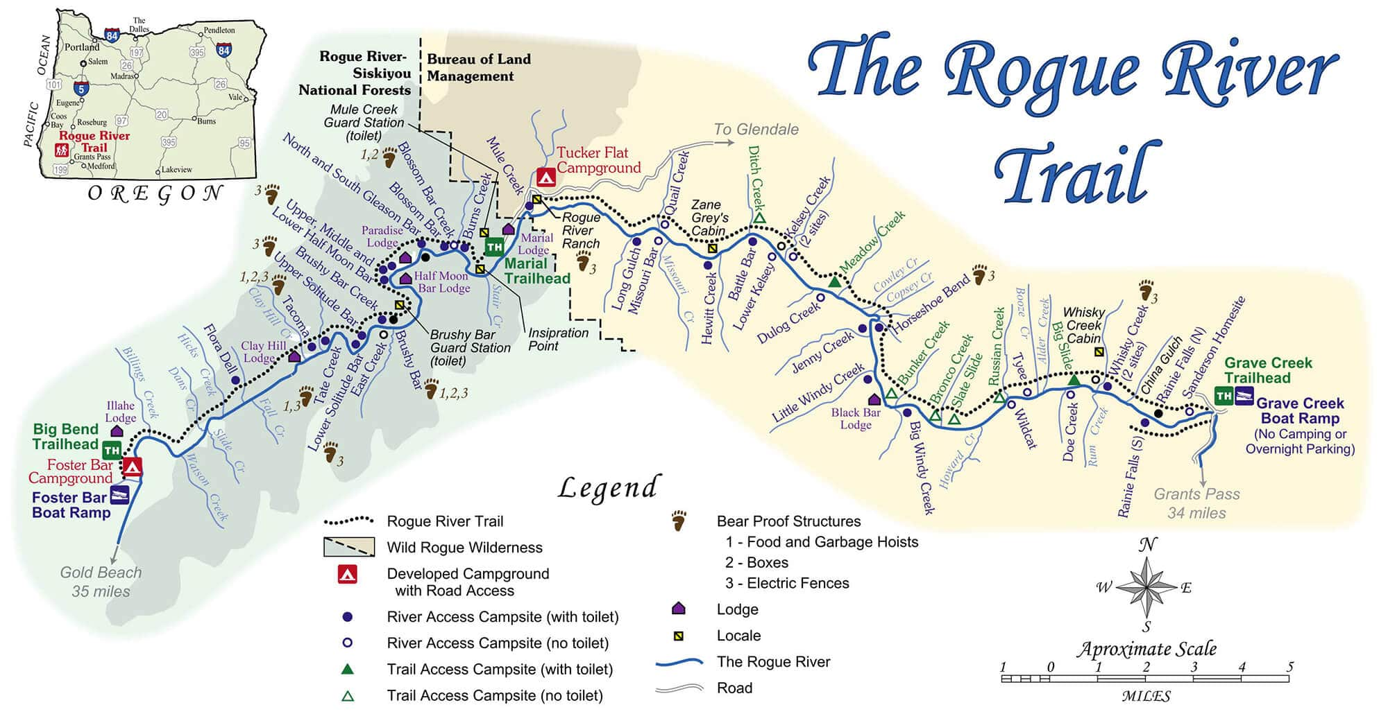 Map of the Rogue River Trail in Oregon