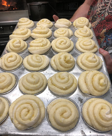 Rolls ready for the oven in Morrisons' kitchen