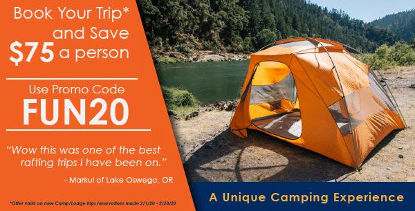 Save on Camp/Lodge Trip with promo code Fun20.