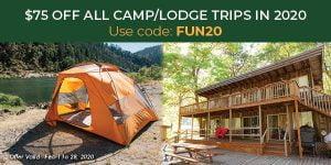 Camp lodge Promo : FUN20