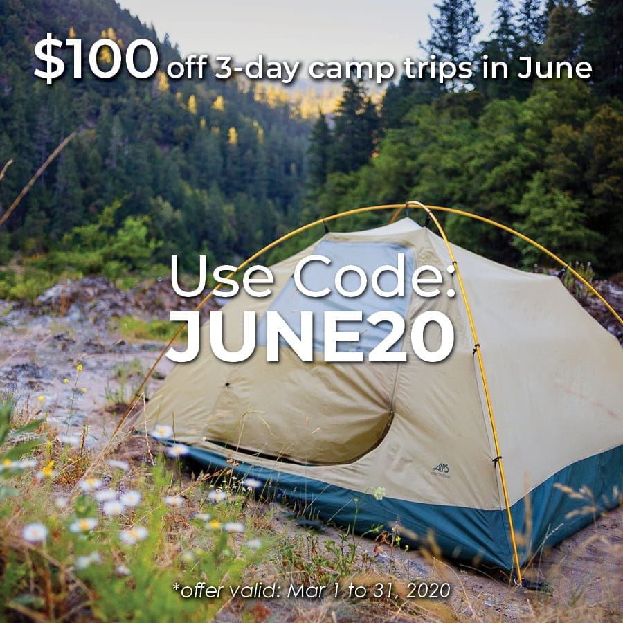 Save $100 on 3-day camp trips